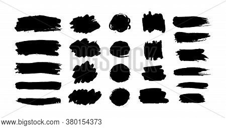 Hand Drawn Vector Ink Brush Strokes, Black Paint Spot Set. Dirty Paint Blobs And Daubs Artistic Back