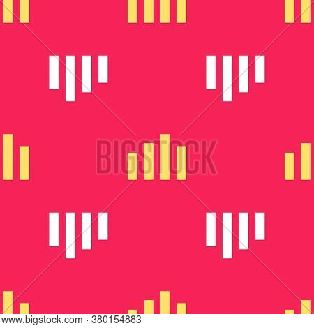 Yellow Music Equalizer Icon Isolated Seamless Pattern On Red Background. Sound Wave. Audio Digital E
