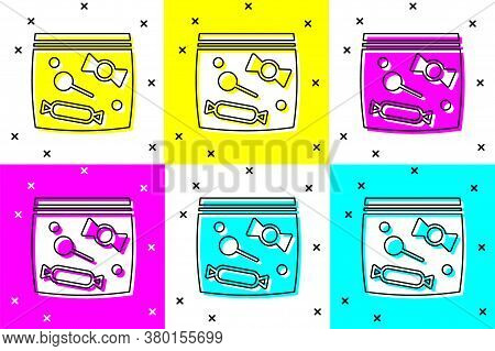 Set Candy Packaging For Sweets Icon Isolated On Color Background. Bag With Candy. Vector