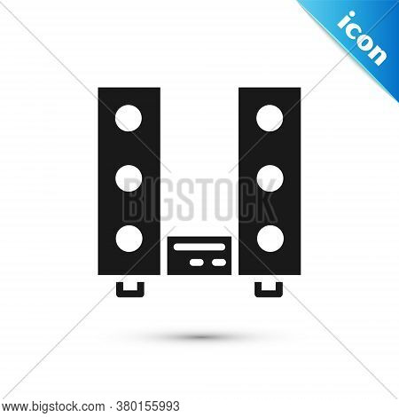 Grey Home Stereo With Two Speaker S Icon Isolated On White Background. Music System. Vector