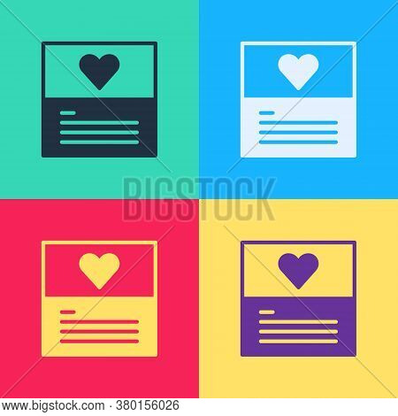 Pop Art Greeting Card Icon Isolated On Color Background. Celebration Poster Template For Invitation