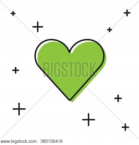 Black Heart Icon Isolated On White Background. Romantic Symbol Linked, Join, Passion And Wedding. Va