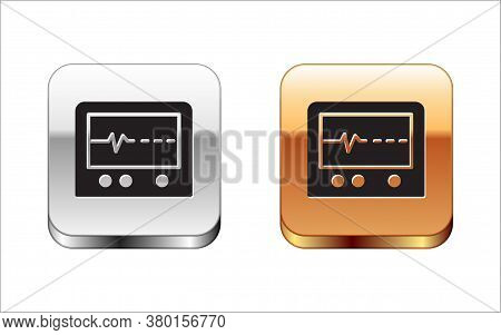 Black Beat Dead In Monitor Icon Isolated On White Background. Ecg Showing Death. Silver-gold Square