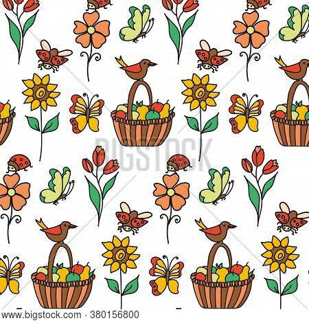 Set Of Flowers, Ladybug, Butterfly And Simple Bird. Seamless Pattern Isolated On A White Background.