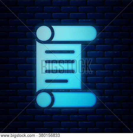 Glowing Neon Decree, Paper, Parchment, Scroll Icon Icon Isolated On Brick Wall Background. Vector