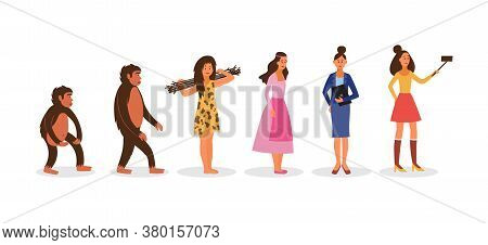 Human Evolution From Prehistoric To Modern Woman Vector Illustration Isolated.