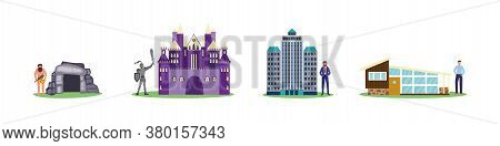 House Evolution Set From Stone Cave To Medieval Castle To Modern Building