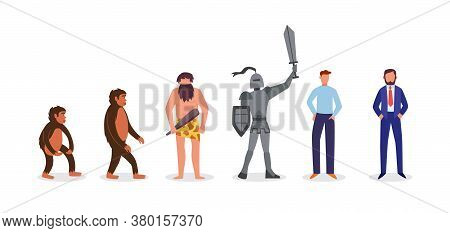 Human Evolution From Monkey To Businessman Flat Vector Illustration Isolated.