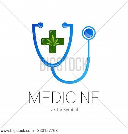 Stethoscope, Cannabis Vector Logotype In Blue Color. Medical Marijuana Symbol With Cross For Doctor,