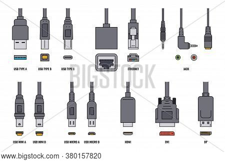 Usb Cable And Mobile Cell Phone Plugs Set Realistic Vector Illustration Isolated.