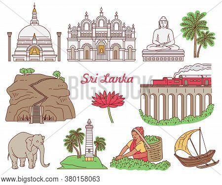 Set Of Sri Lanka Tourist Landmark Icons Set Sketch Vector Illustration Isolated.