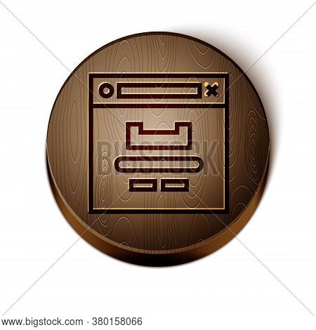 Brown Line Browser Window Icon Isolated On White Background. Wooden Circle Button. Vector Illustrati