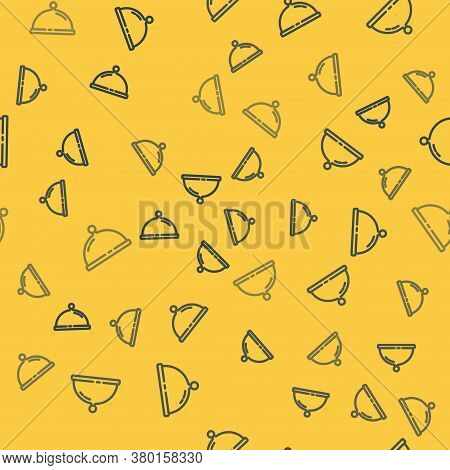 Blue Line Covered With A Tray Of Food Icon Isolated Seamless Pattern On Yellow Background. Tray And