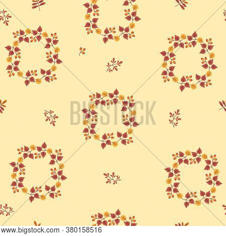 Seamless Patterns. Abstract Cover Design From Circular Vignettes Of Colorful Leaves And Branches On