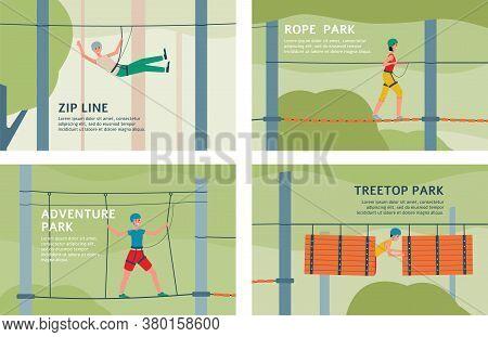 Treetop Adventure Rope Park And Zip Line - Flat Banner Set