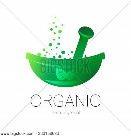 Green Herbal Bowl With Leaf Vector Logotype. Concept Symbol For Medical, Clinic, Pharmacy Business O