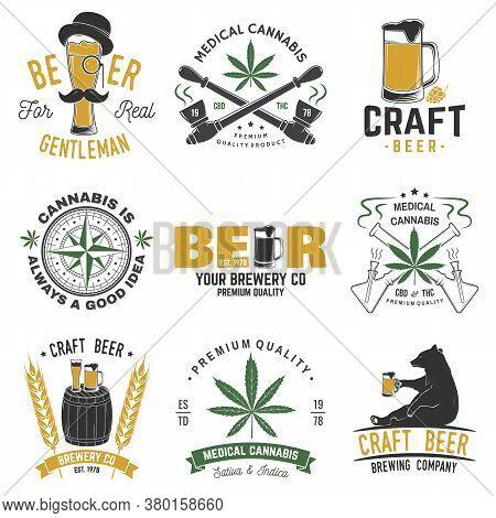 Set Of Medical Cannabis And Craft Beer Badge, Label With Skull, Skeleton Hand, Smoking Marijuana. Ve