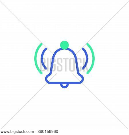 Ringing Bell Notification Icon Vector, Filled Flat Sign, Alarm Bell Notice Bicolor Pictogram, Green