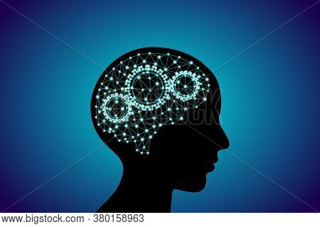 3d Digital Neuro Glowing Particles Lines And Dots Plexus Structure Human Brain With Cog Wheels On Pe