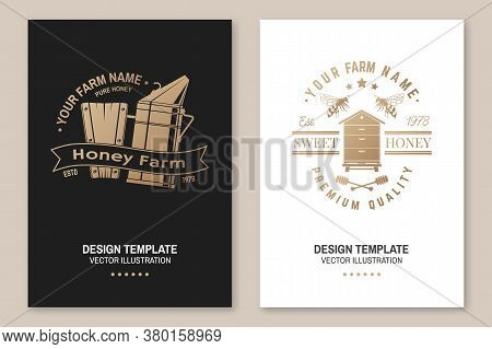 Set Of Honey Bee Farm Poster, Flyer, Template. Vector Illustration. Vintage Typography Design With B