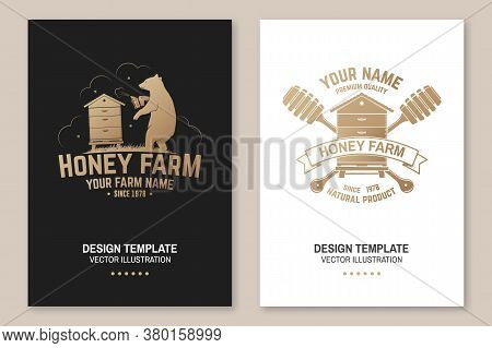 Honey Bee Farm Poster, Flyer, Template. Vector Illustration. Vintage Typography Design With Bee, Hiv