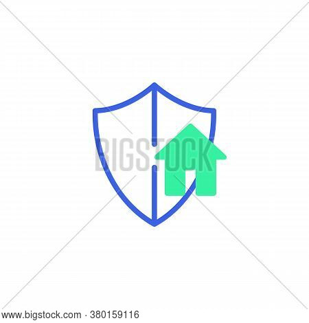Smart Home Security Icon Vector, Filled Flat Sign, Smart Home Protection Shield Bicolor Pictogram, G