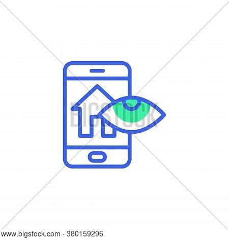 Smartphone Screen With Smart Home Security Icon Vector, Smart Home Monitoring Filled Flat Sign, Bico