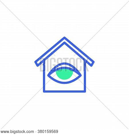 Home Surveillance Icon Vector, Filled Flat Sign, Smart Home Monitoring Bicolor Pictogram, Green And
