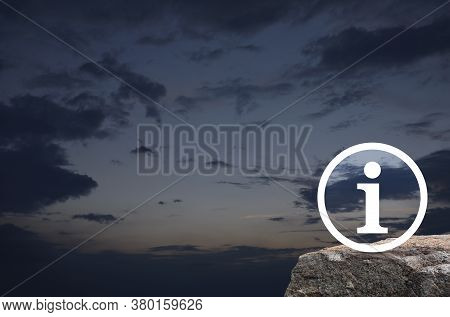 Information Sign Flat Icon On Rock Mountain Over Sunset Sky, Business Customer Service And Support C