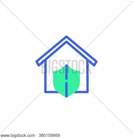 House Protection Icon Vector, Filled Flat Sign, Home Security Shield Bicolor Pictogram, Green And Bl