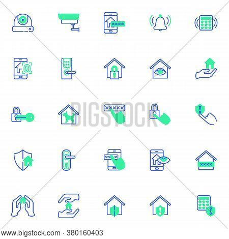 Smart Home Security Vector Icons Set, Modern Solid Bicolor Symbol Collection, Filled Style Pictogram
