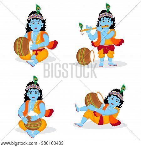 Set Of Lord Krishna Different Posses Character Illustration, Happy Krishna Janmashtami Birthday Of L
