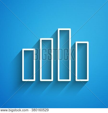 White Line Music Equalizer Icon Isolated On Blue Background. Sound Wave. Audio Digital Equalizer Tec