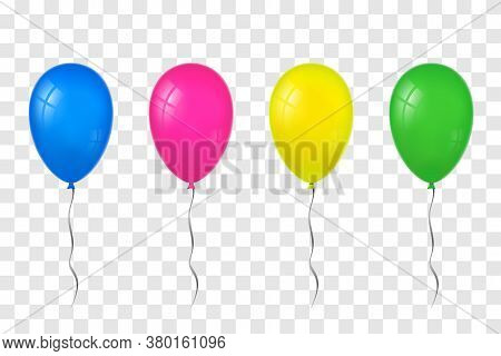 Balloons 3d Set, Thread, Isolated White Transparent Background. Color Glossy Flying Baloon, Ribbon,