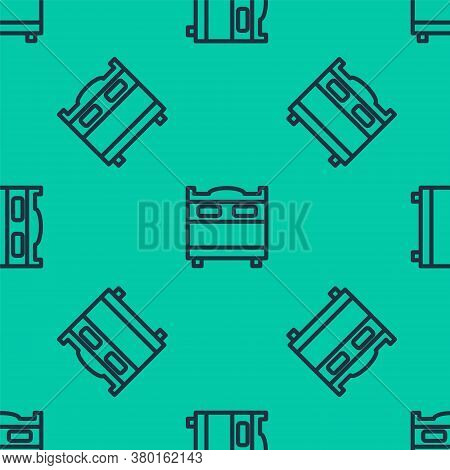 Blue Line Bedroom Icon Isolated Seamless Pattern On Green Background. Wedding, Love, Marriage Symbol