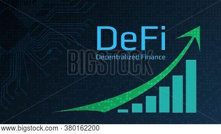 Defi - Decentralized Finance - Text Next To A Green Up Arrow And A Chart Directed Upwards. Dark Blue