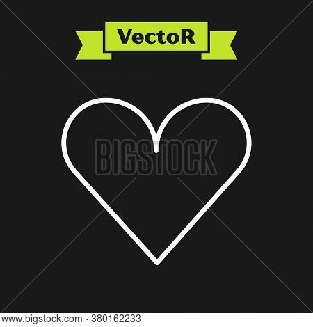 White Line Heart Icon Isolated On Black Background. Romantic Symbol Linked, Join, Passion And Weddin