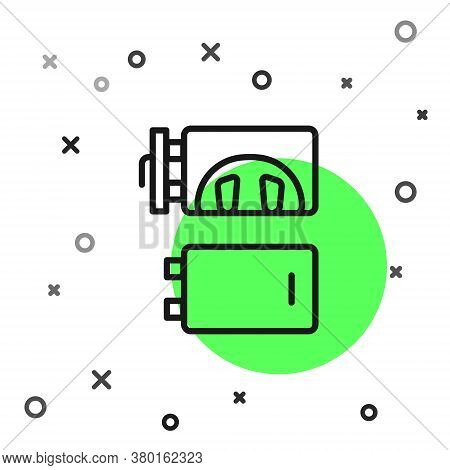Black Line Crematorium Icon Isolated On White Background. Vector