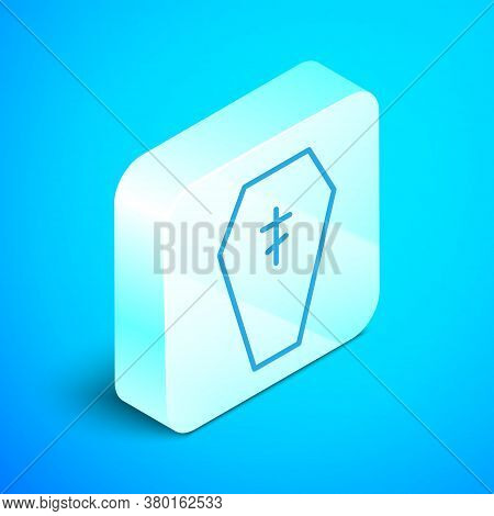 Isometric Line Coffin With Christian Cross Icon Isolated On Blue Background. Happy Halloween Party.