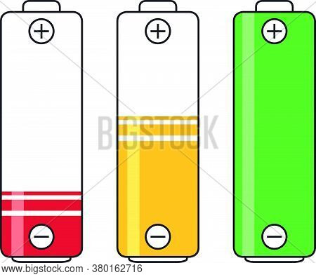 Low, Charging And Full Battery Power Energy Level Symbols Vector Graphics