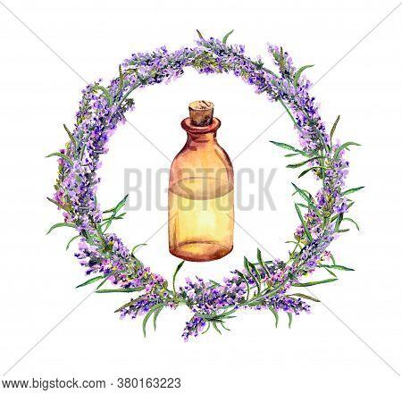 Lavender Oil - Perfume Bottle In Lavender Flowers Wreath. Watercolor For Cosmetic, Beauty Design