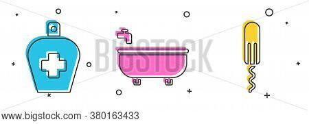 Set Bottle Of Liquid Antibacterial Soap, Bathtub And Sanitary Ta