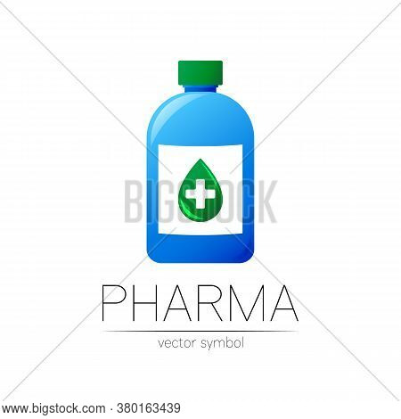 Pharmacy Vector Symbol With Blue Bottle And Green Drop With Cross For Pharmacist, Pharma Store, Doct