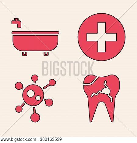 Set Broken Tooth, Bathtub, Cross Hospital Medical And Virus Icon. Vector