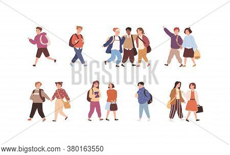 Set Of Cute Children With Backpack Or Bag Going To Elementary Or Middle School Vector Flat Illustrat