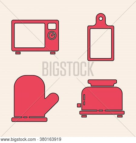 Set Toaster, Microwave Oven, Cutting Board And Oven Glove Icon. Vector
