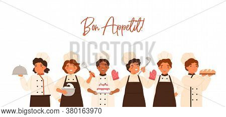 Bon Appetit Banner With Lettering And Kids. Children Cooking And Serving Meal, Boys, Girls In Unifor