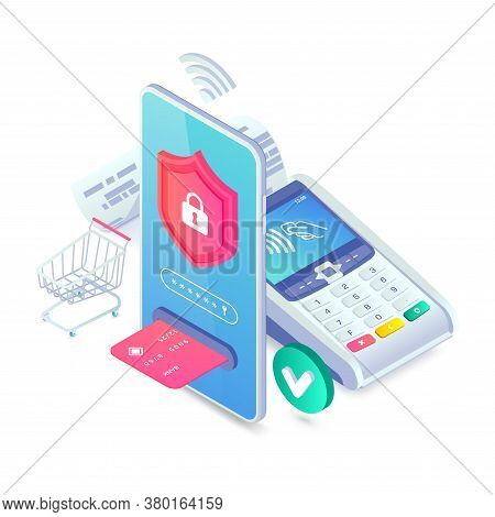 Online Secure Nfc Smartphone Payment Isometric Concept. Internet Payments Protection Vector Illustra
