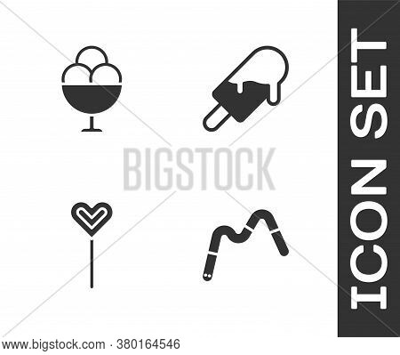 Set Jelly Worms Candy, Ice Cream In Bowl, Lollipop And Icon. Vector