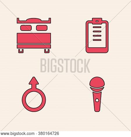 Set Microphone, Bedroom, Clipboard With Checklist And Male Gender Symbol Icon. Vector
